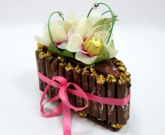 Букет с ленточками из конфет