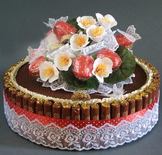 Торт - букет из конфет своими руками