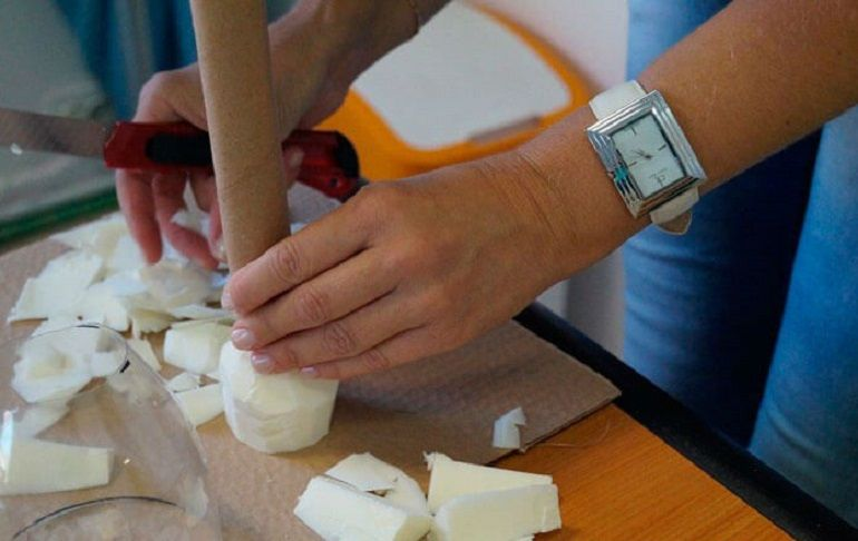 Изготовление картонной втулки и пенополистирола ручку