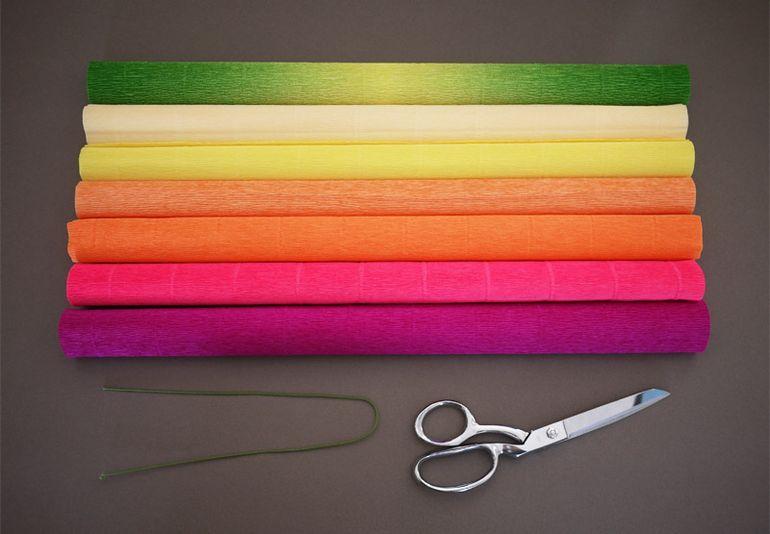 Гофрированная бумага и ножницы