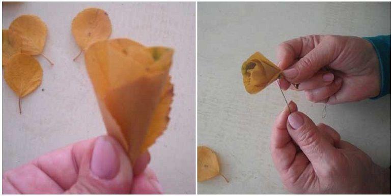 Закрепить листочки нитью