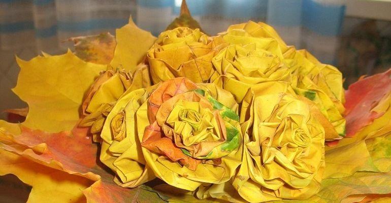 Розы из листьев