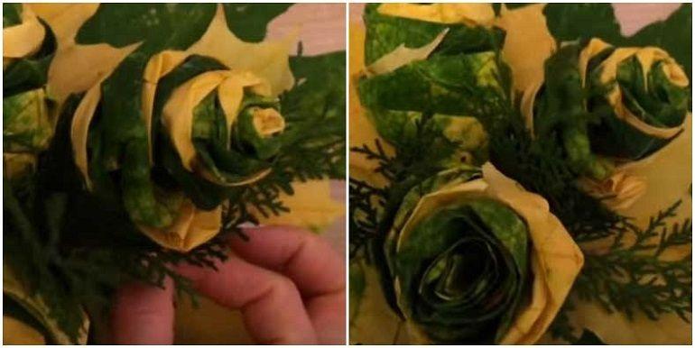 Веточки туи в букет из листьев