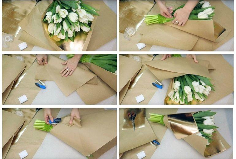 Как декорировать букет бумагой