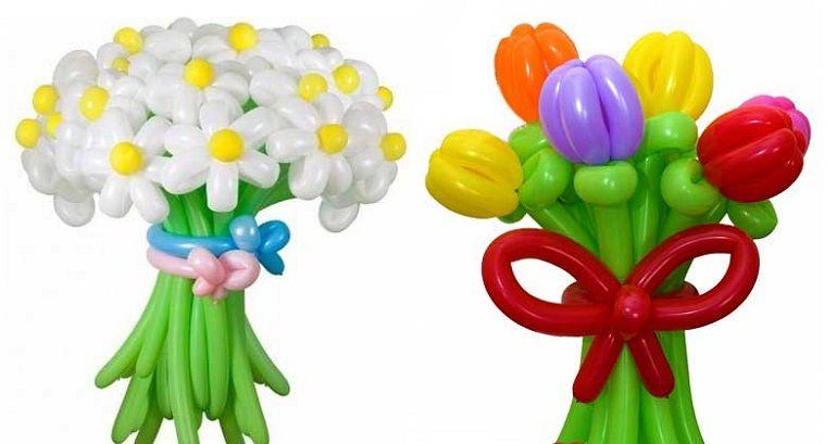 Ромашки и тюльпаны из шаров