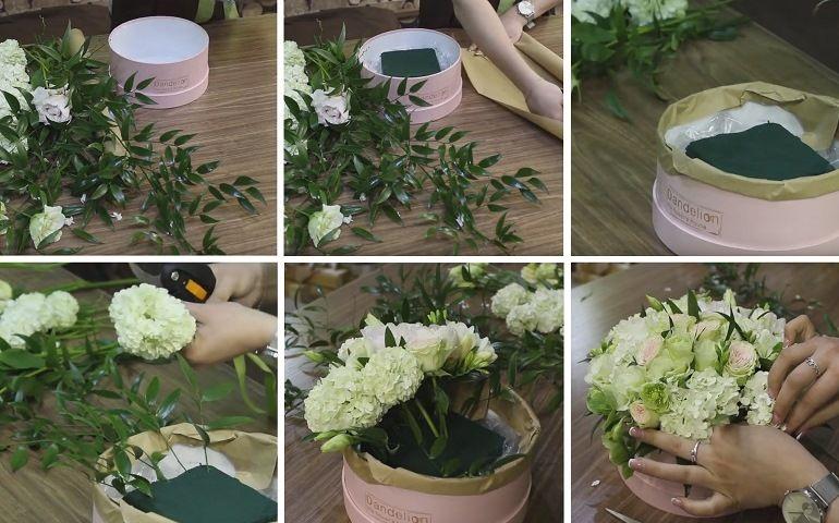 Роскошный букет из цветов в шляпной коробке