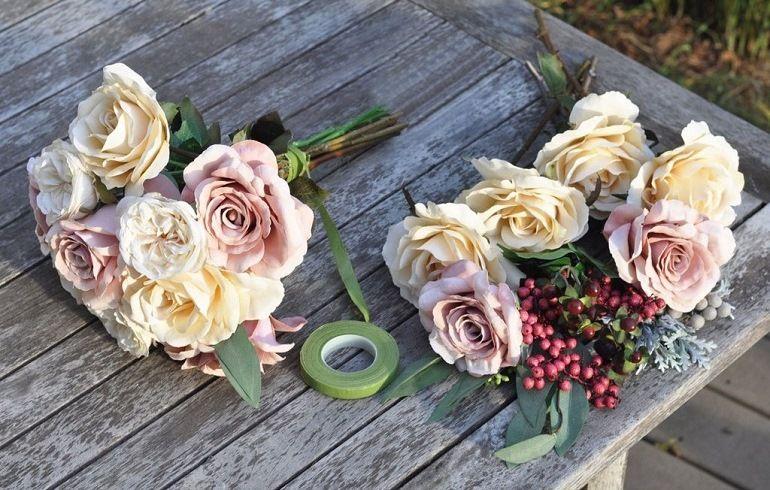 Букет невесты из разных сортов роз