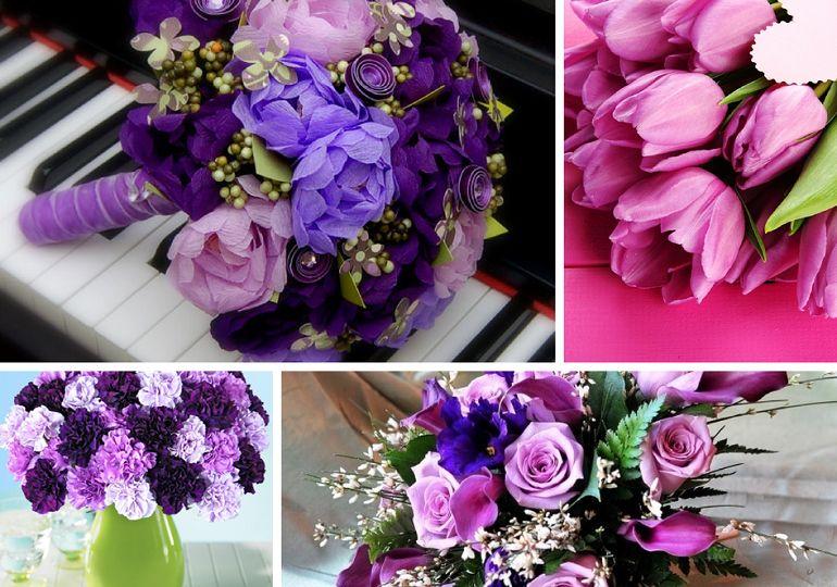 Фиолетовые букеты для разных времен года