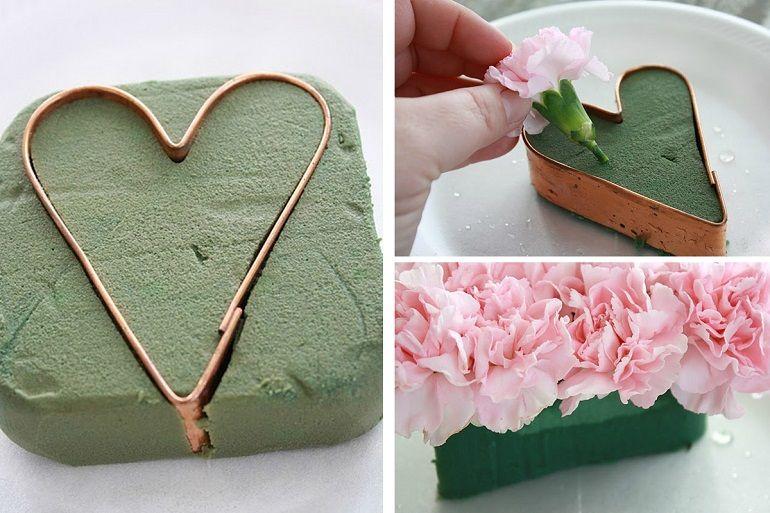 Как собрать букет в форме сердца
