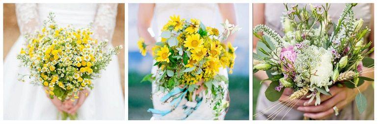 Свадебные букеты из полевых цветов