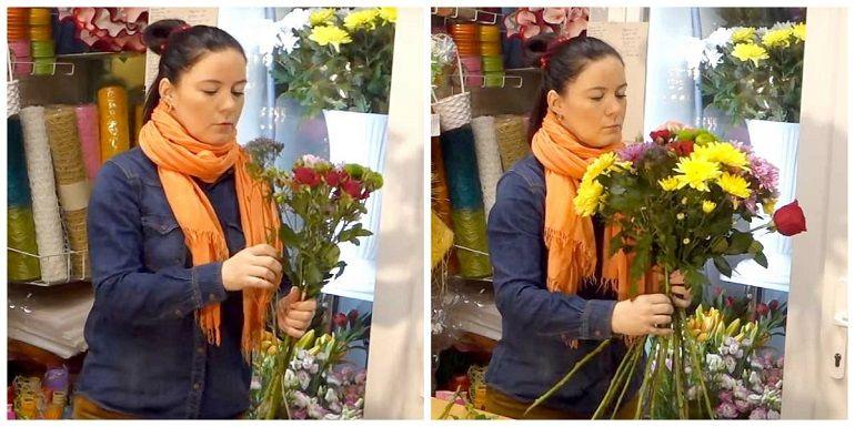 Чередование цветов в букете