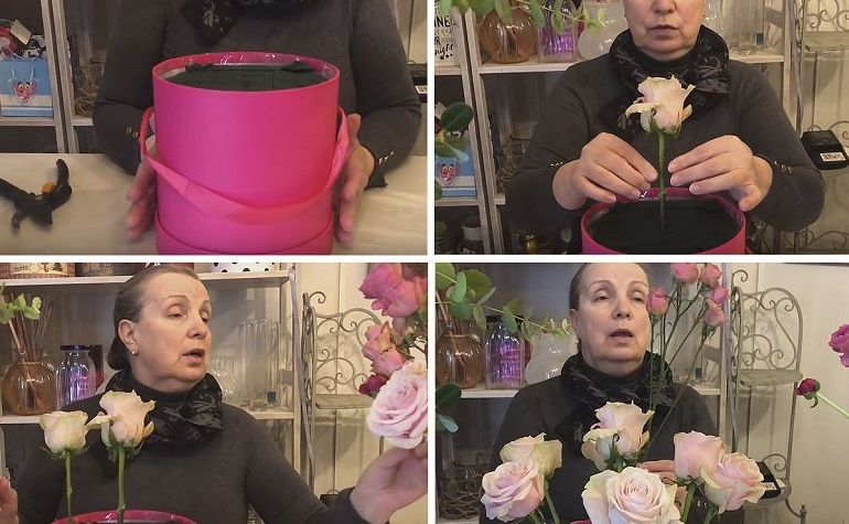 Бутоны роз по кругу в коробке