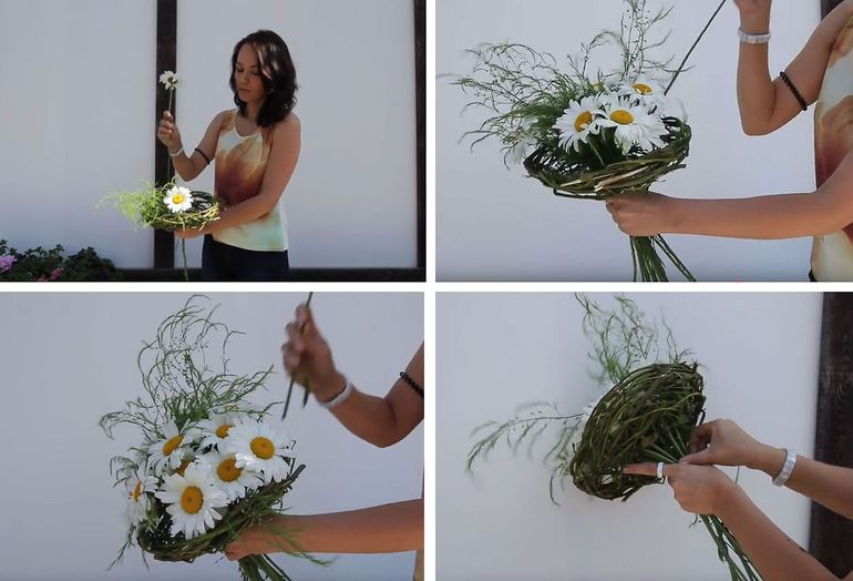 Мастер-класс по изготовлению букетов цветов из полевых ромашек