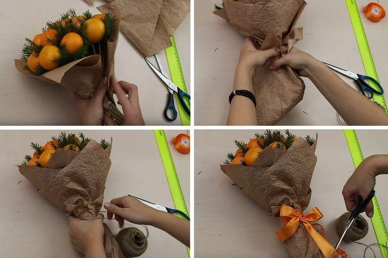 Мастер-класс по изготовлению новогоднего подарочного букета из мандарин