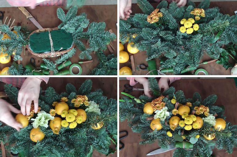 Мастер-класс по изготовлению новогодней настольной композиции из мандарин