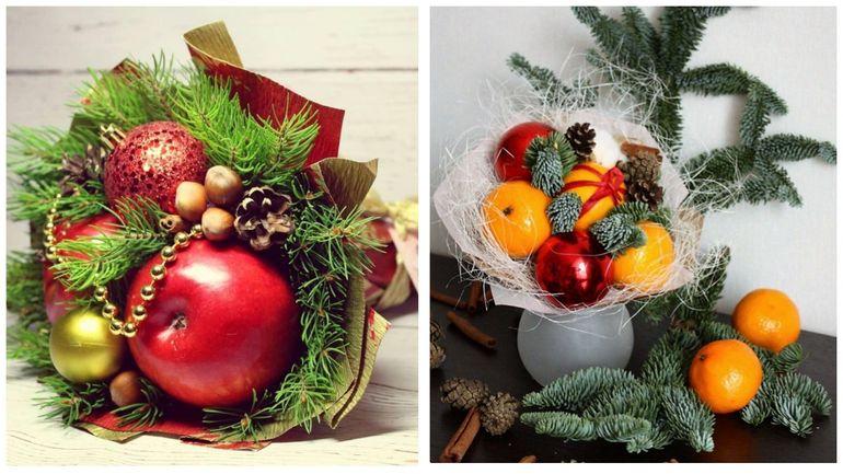 Новогодние букеты из фруктов с елочными украшениями