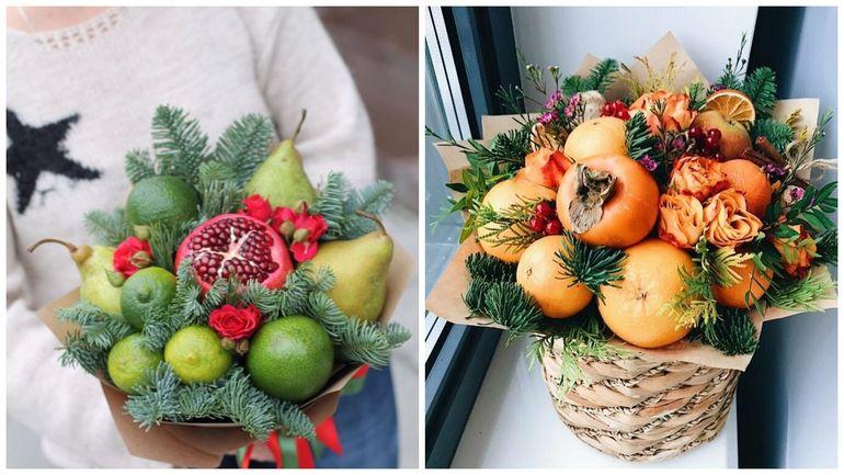 Новогодние букеты из фруктов и цветов
