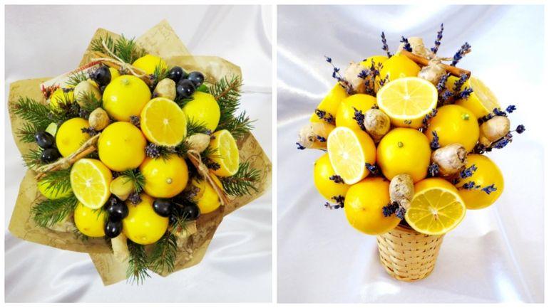 Новогодние букеты из фруктов и лимонов