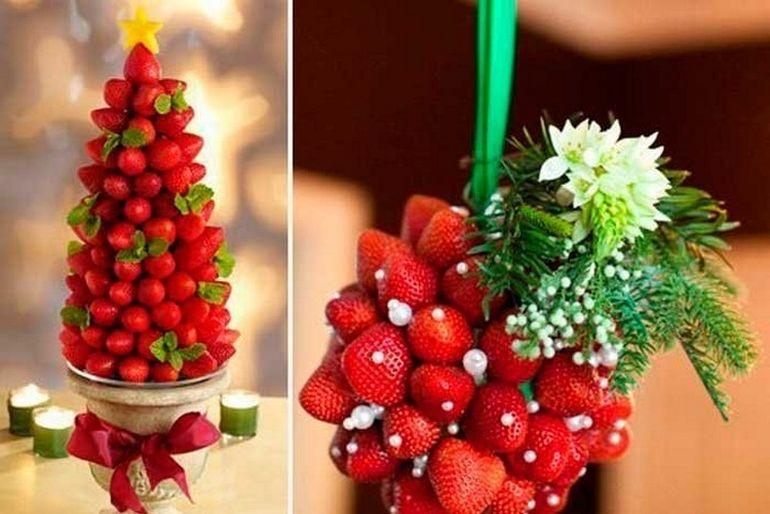 Новогодние букеты из фруктов в форме елки
