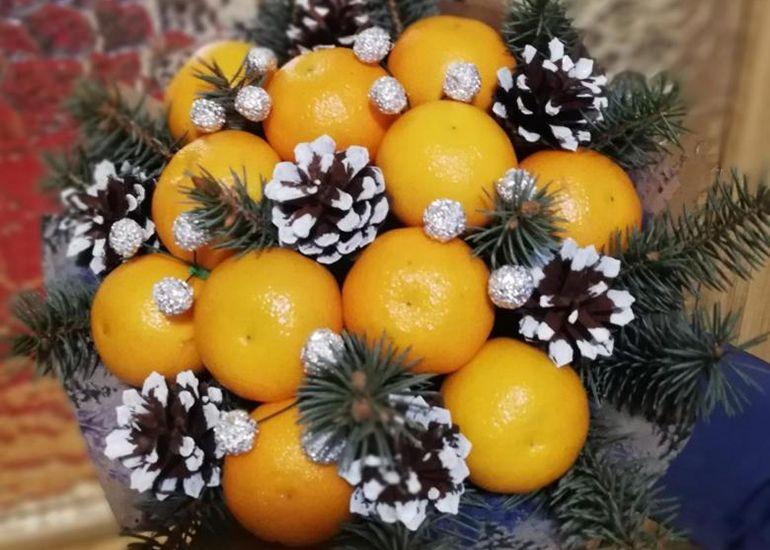 Мастер-класс по изготовлению традиционного фруктового новогоднего букета