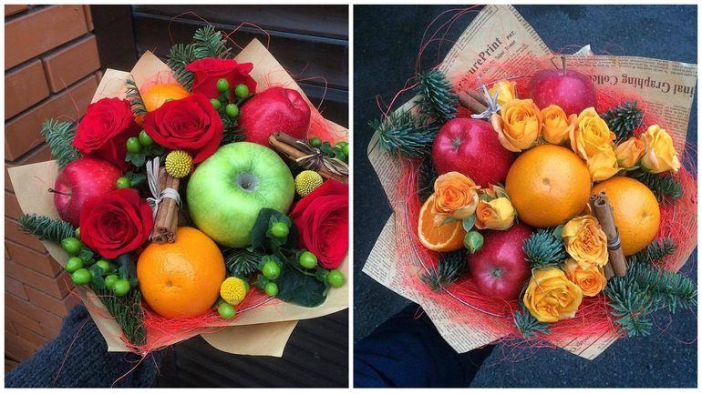 Новогодние букеты из разных фруктов