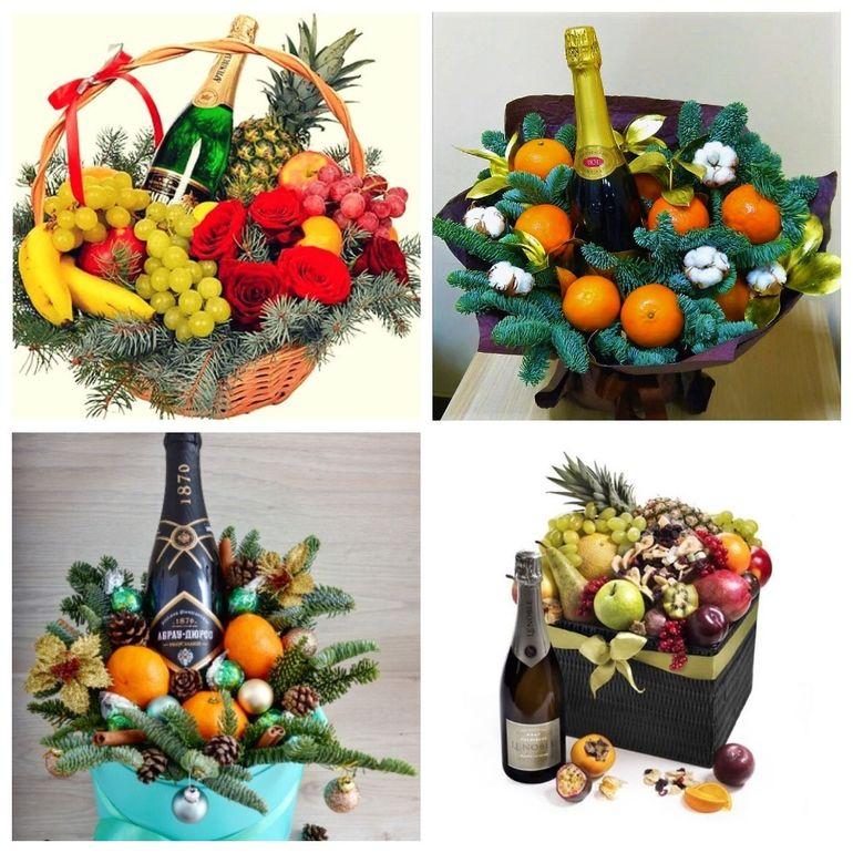 Новогодние букеты из фруктов и шампанского