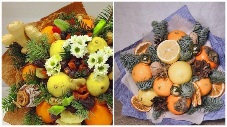 Новогодние букеты из фруктов и сухофруктов