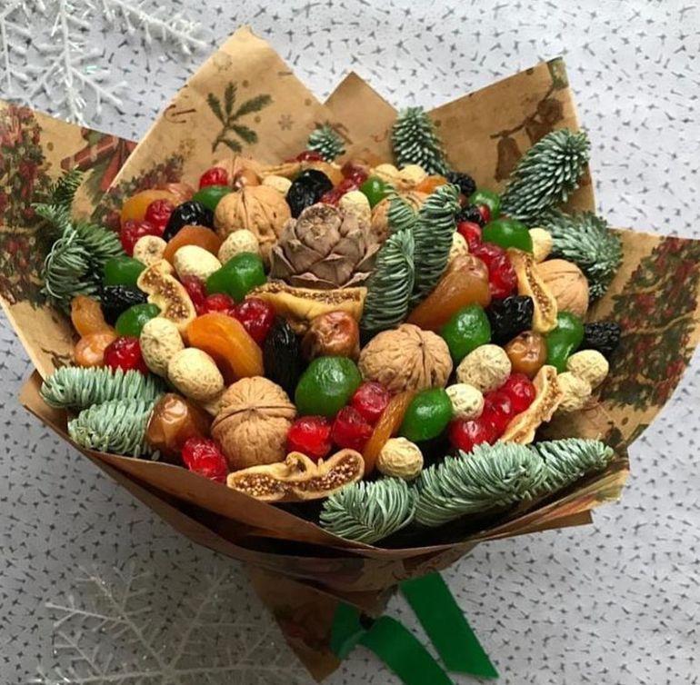 Новогодние букеты из сухофруктов - начинка