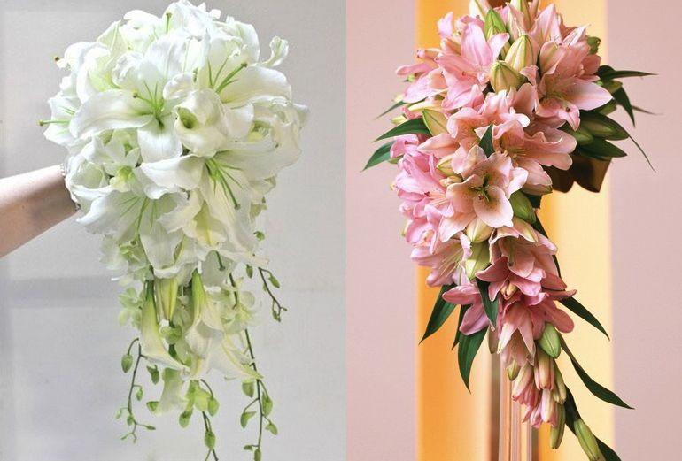 Каскадный букет невесты из лилий
