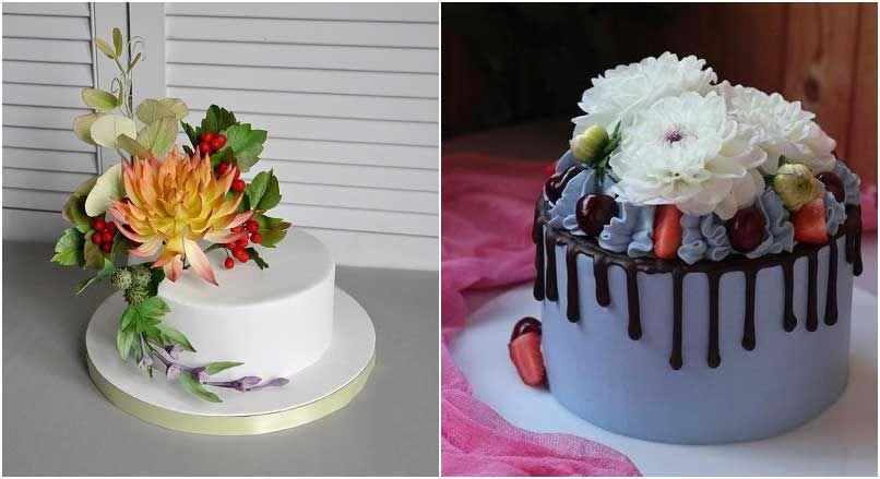 Георгины на десерте