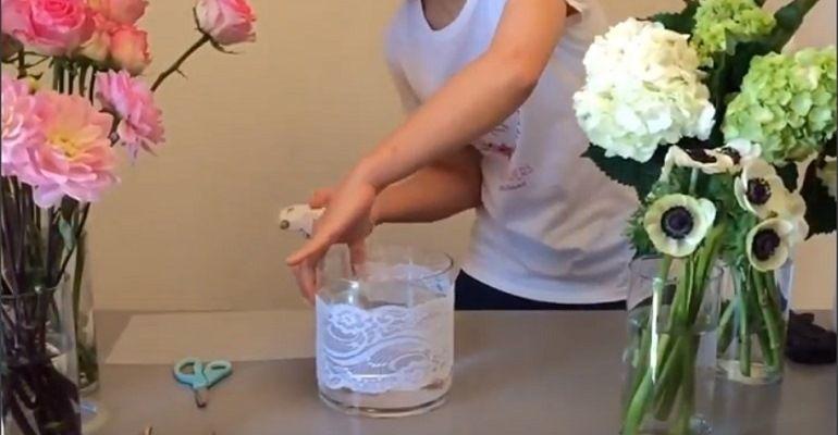 Кружево по внешней стороне вазы