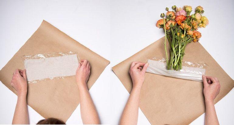 Как завернуть букет в крафт бумагу