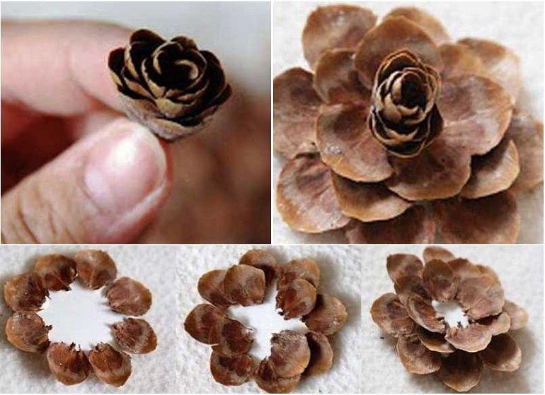 Сборка цветка из скорлупы шишки