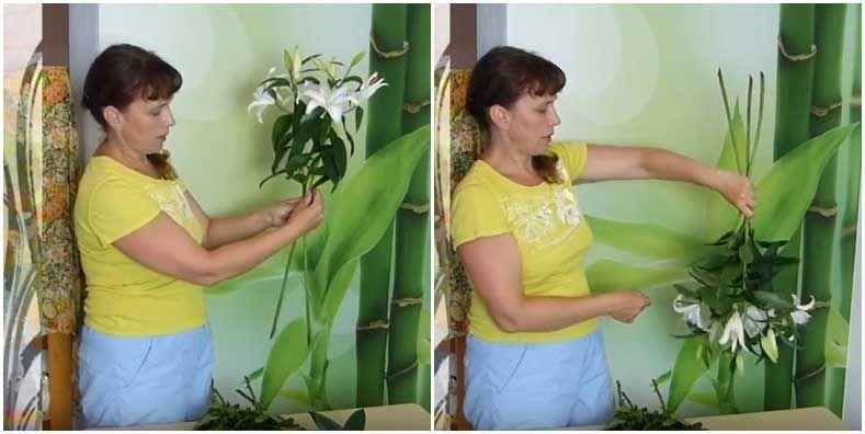 Лилии в спиральной технике