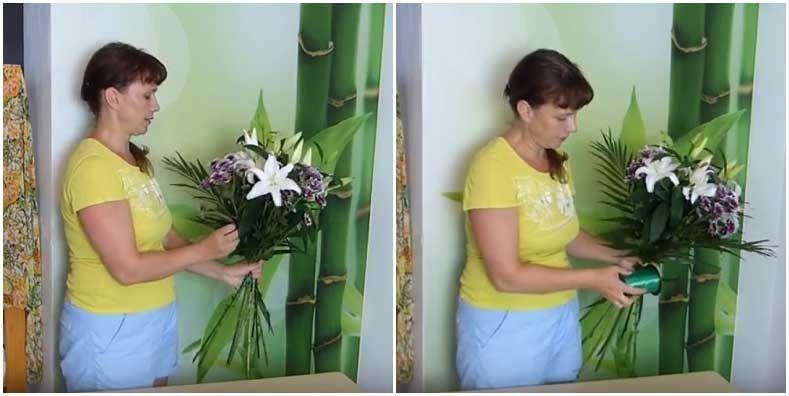 Зелень пальмы в букете