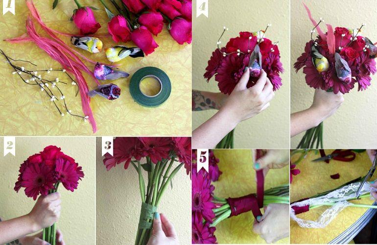 Как составить свадебный букет из гербер и роз