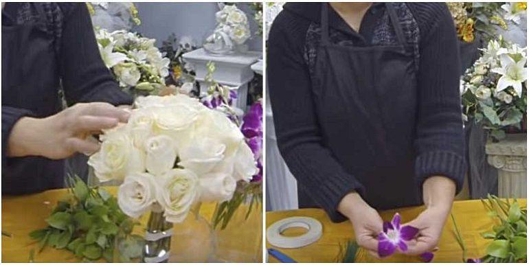 Подготовить орхидеи для букета