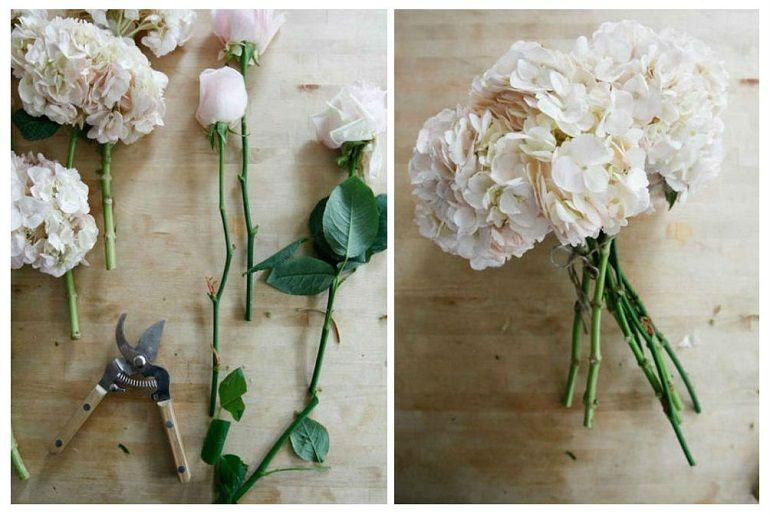 Розы и гортензии для букета