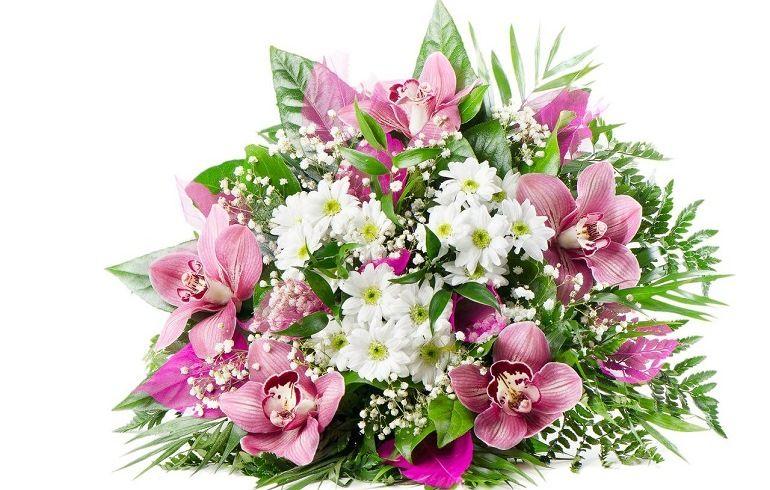 Букет из хризантем и альстрёмерий