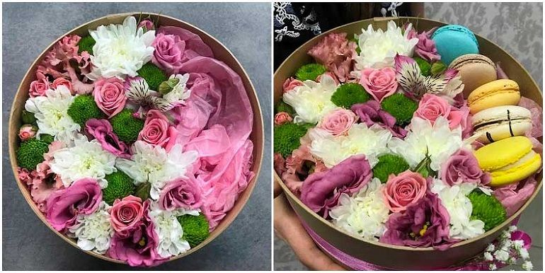 Оригинальный букет из альстремерий и хризантем в коробке