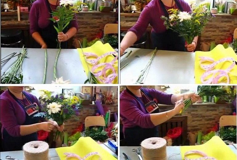 Сборка букета из хризантем, альстрёмерий и гербер
