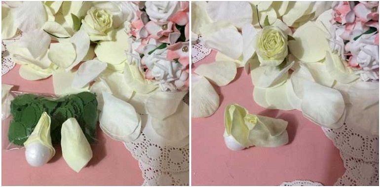 Сборка розы на пенопластовой основе в форме яйца