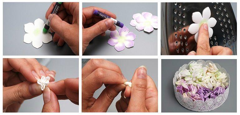 Цветочки из фоамирана прогреть утюгом, скрутить