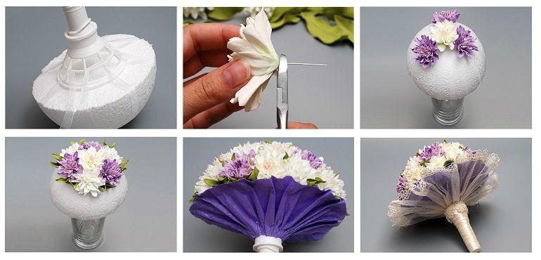 Укладка цветов в портбукетницу