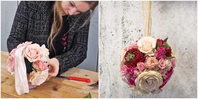 Свадебный букет-помандер из роз