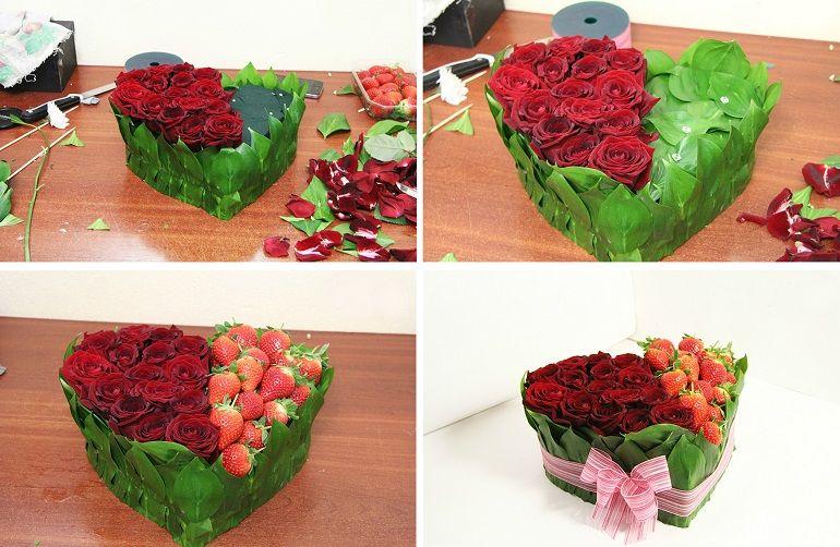 Составление букета из роз и клубники
