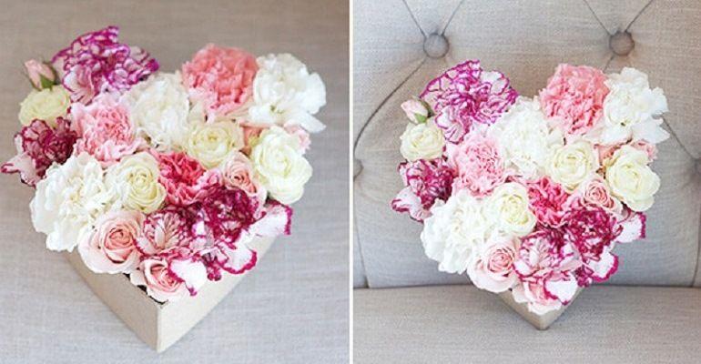 Нежный букет из роз в коробке