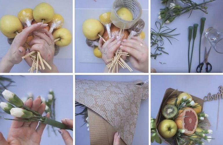 Как собрать фруктово-цветочный букет
