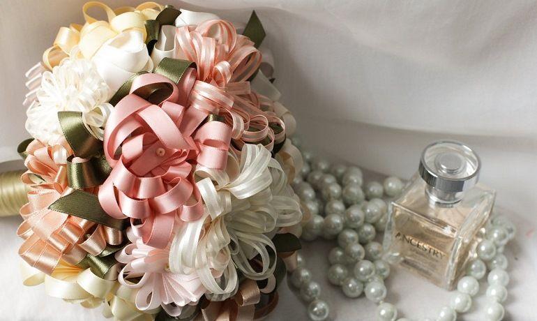 Букет-дублер для невесты из лент