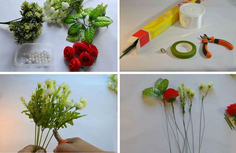 Букет-дублёр из искусственных роз